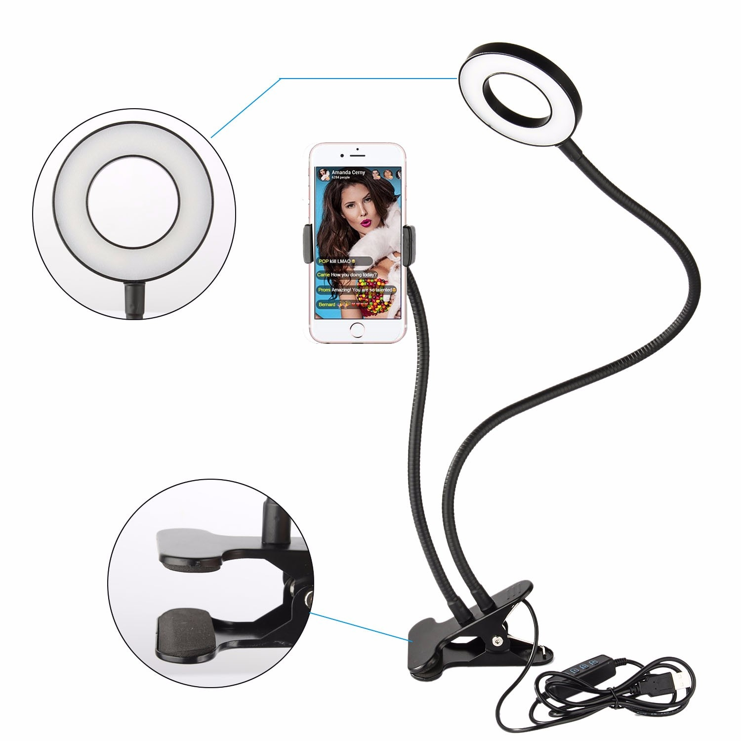 Selfie LED Ring Light with Cell Phone Holder