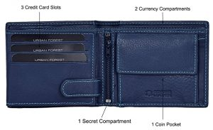 Urban Forest Oliver Blue RFID Blocking Leather Wallet for Men – Mens Leather Wallet