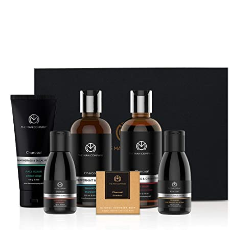 Charcoal Grooming Kit By The Man Company | Packed In Elegant Wooden Gift Box | Set Of 6 – Body Wash, Shampoo, Face Scrub, Face Wash, Cleansing Gel, Soap Bar
