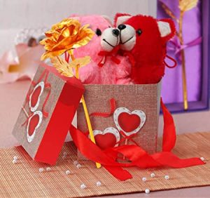 TIED RIBBONS Artificial Rose And Teddies And Gift Box (Multicolour, 1 Rose, 2 Teddies, 1 Gift Box)