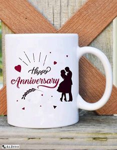 ALDIVO® Gift for Happy for Anniversary | Combo Pack (12″ x 12″ Cushion Cover with Filler + Printed Coffee Mug +Greeting Card + Printed Key Ring)