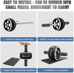 10-In-1 Ab Wheel Roller Kit with Resistance Bands, Knee Mat, Jump Rope, Push-Up Bar – Home Gym Equipment for Men Women