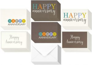 36 Pack Happy Anniversary Cards with Envelopes Set, 6 Assorted Modern Embellished Style Design, 4×6