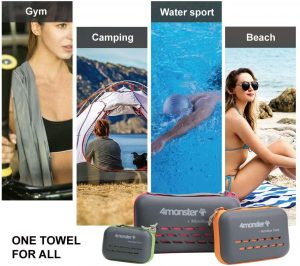 4Monster Camping Towels Super Absorbent, Fast Drying Microfiber Travel Towel, Ultra Soft Compact Gym Towel for Beach Hiking Yoga