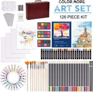 126 Piece Deluxe Art Creativity Set with 2 Drawing Pad, Art Supplies in Portable Wooden Case- Crayons, Oil Pastels, Colored Penc
