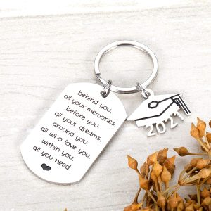 2021 Graduation Keychain Inspirational Gifts for Him Her Best Friend Daughter Son Nurse Student Practitioner Masters Degree Grad