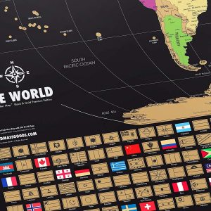 Landmass Extra Large Scratch Off World Map Poster – Made In The USA – Travel Map with Flags – Scratch Off Map Of The World With