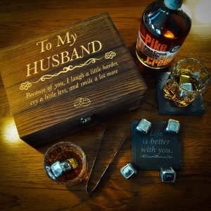 Anniversary Gifts for Him | Men | Husband Valentines Day – Whiskey Glass Set Engraved 'To My Husband' Husband Gifts for Birthday