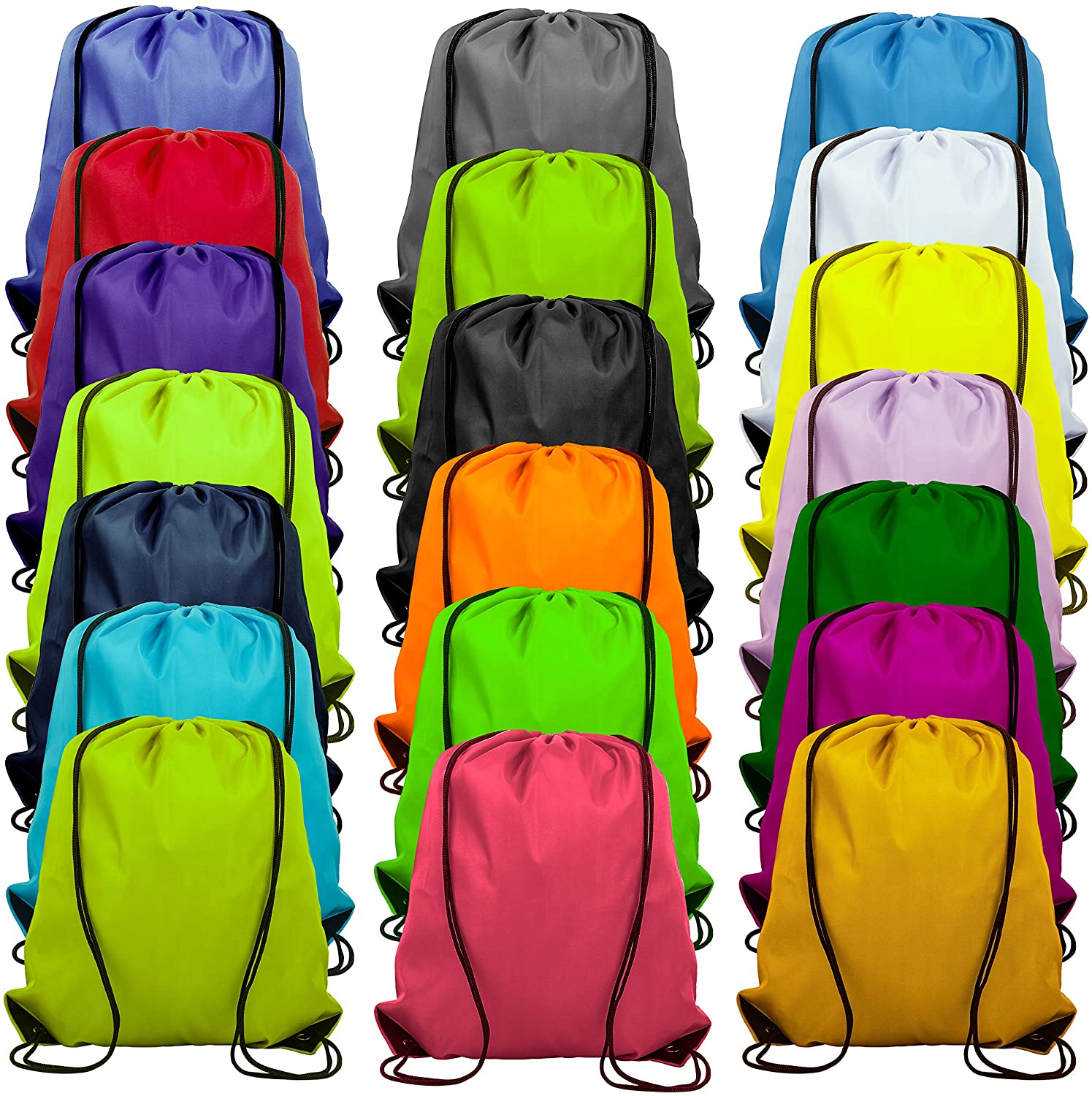 20 Colors Drawstring Backpack Bags Sack Pack Cinch Tote Sport Storage Polyester Bag for Gym Traveling