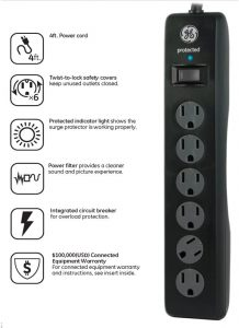 GE 6-Outlet Surge Protector, 10 Ft Extension Cord, Power Strip, 800 Joules, Flat Plug, Twist-to-Close Safety Covers, UL Listed,