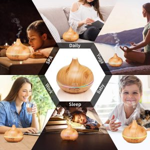 550ML Aroma Diffuser for Essential Oil,Large Office Essential Oil Diffuser for Home Kids, Cool Mist humidifier for Bedroom Quiet