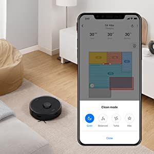 Roborock S4 Max Robot Vacuum with Lidar Navigation, 2000Pa Strong Suction, Multi-Level Mapping, Wi-Fi Connected with No-go Zones