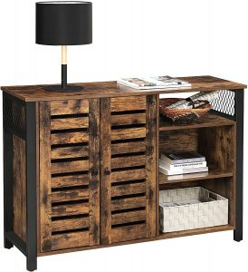 VASAGLE Storage Cabinet, Kitchen Cabinet and Sideboard with Adjustable Shelves and Louvered Doors, for Dining Room, Living Room,
