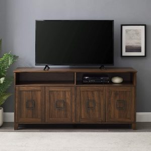 Walker Edison Modern Farmhouse Squared Wood Stand with 4 Cabinet Doors 65″ Flat Screen Universal TV Console Living Room Storage
