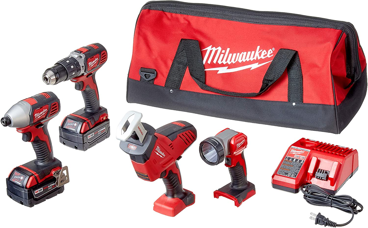 MILWAUKEE'S 2695-24 M18 18V Cordless Power Tool Combo Kit with Hammer Drill, Impact Driver, Reciprocating Saw, and Work Light (2