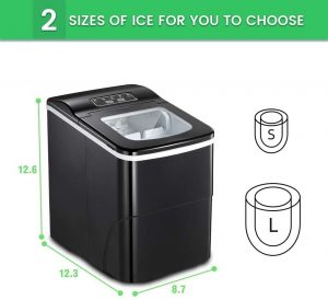 AGLUCKY Ice Maker Machine for Countertop, Portable Ice Cube Makers, Make 26 lbs ice in 24 hrs,Ice Cube Rready in 6-8 Mins with I