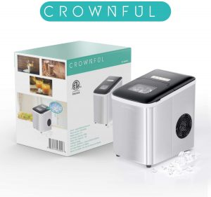 CROWNFUL Ice Maker Machine for Countertop, 9 Ice Cubes Ready in 8-10 Minutes, 26lbs Bullet Ice Cubes in 24H, Electric Ice Maker