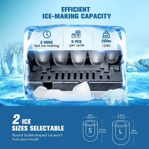 IKICH Portable Ice Maker Machine for Countertop, Ice Cubes Ready in 6 Mins, Make 26 lbs Ice in 24 Hrs with LED Display Perfect f