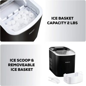 Igloo ICEB26AQ Automatic Portable Electric Countertop Ice Maker Machine,9 Ice Cubes Ready in 7 Minutes, with Ice Scoop and Baske