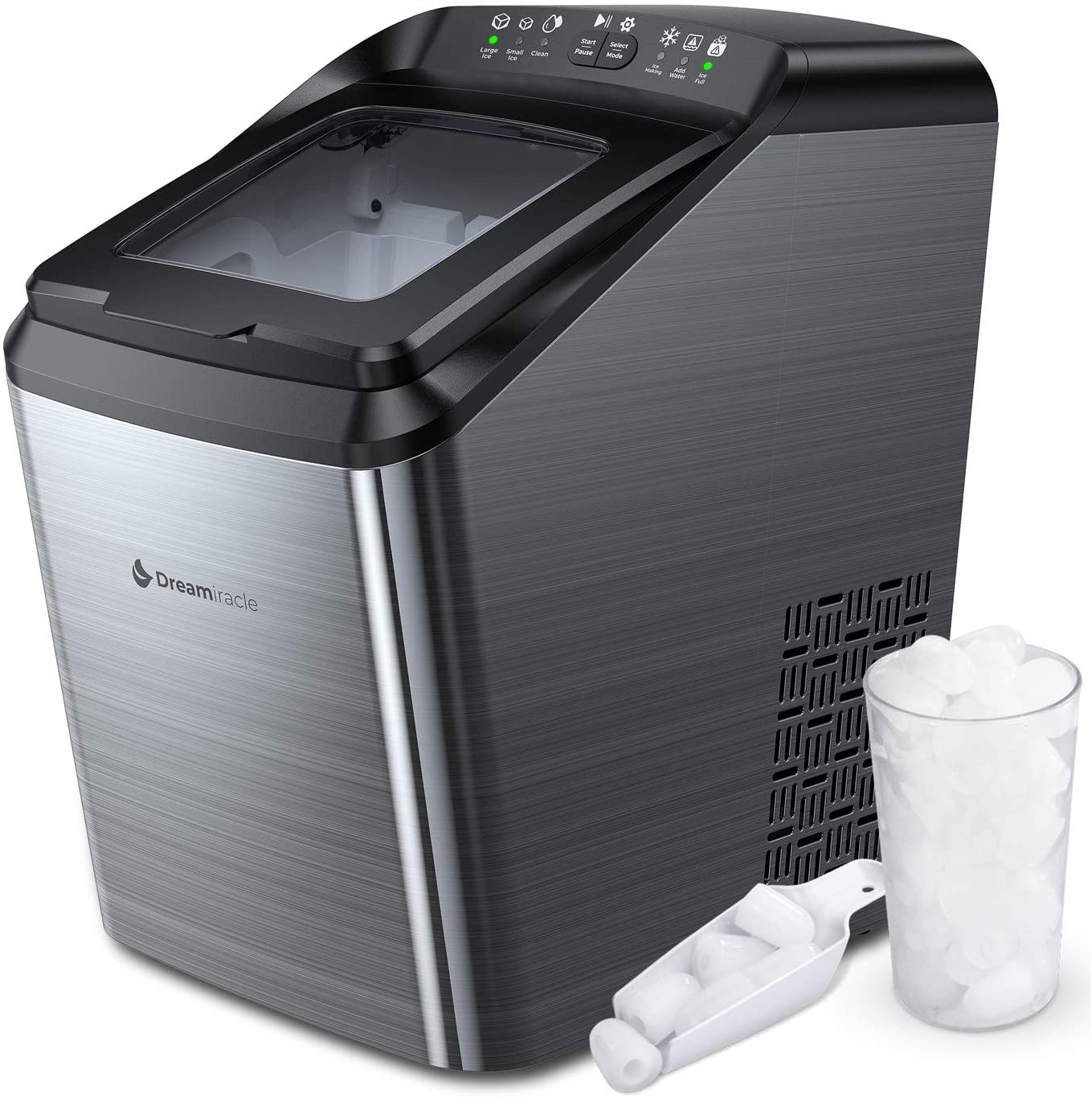 Dreamiracle Ice Maker Machine for Countertop, 33 lbs Bullet Ice Cube in 24H, 9 Ice Cubes Ready in 7-10 Minutes, 2.8L Ice Maker M