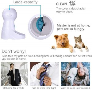 Iseebiz Automatic Cat Feeder, Dog and Cat Food Dispenser with IR Detector Anti-Clog Design, 10s Voice Recorder and Timer Program