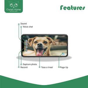 Owlet Home | Pet Camera with Treat Dispenser & Tossing for Dogs/Cats, WiFi, 1080P Camera, Live Video, Auto Night Vision, 2-Way A